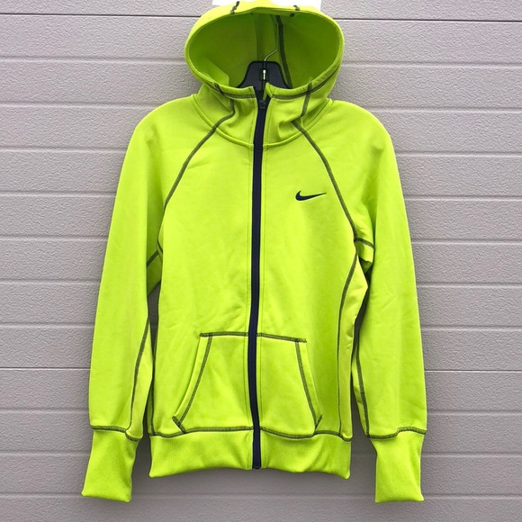 Nike lime green neon full zip hoodie jacket small